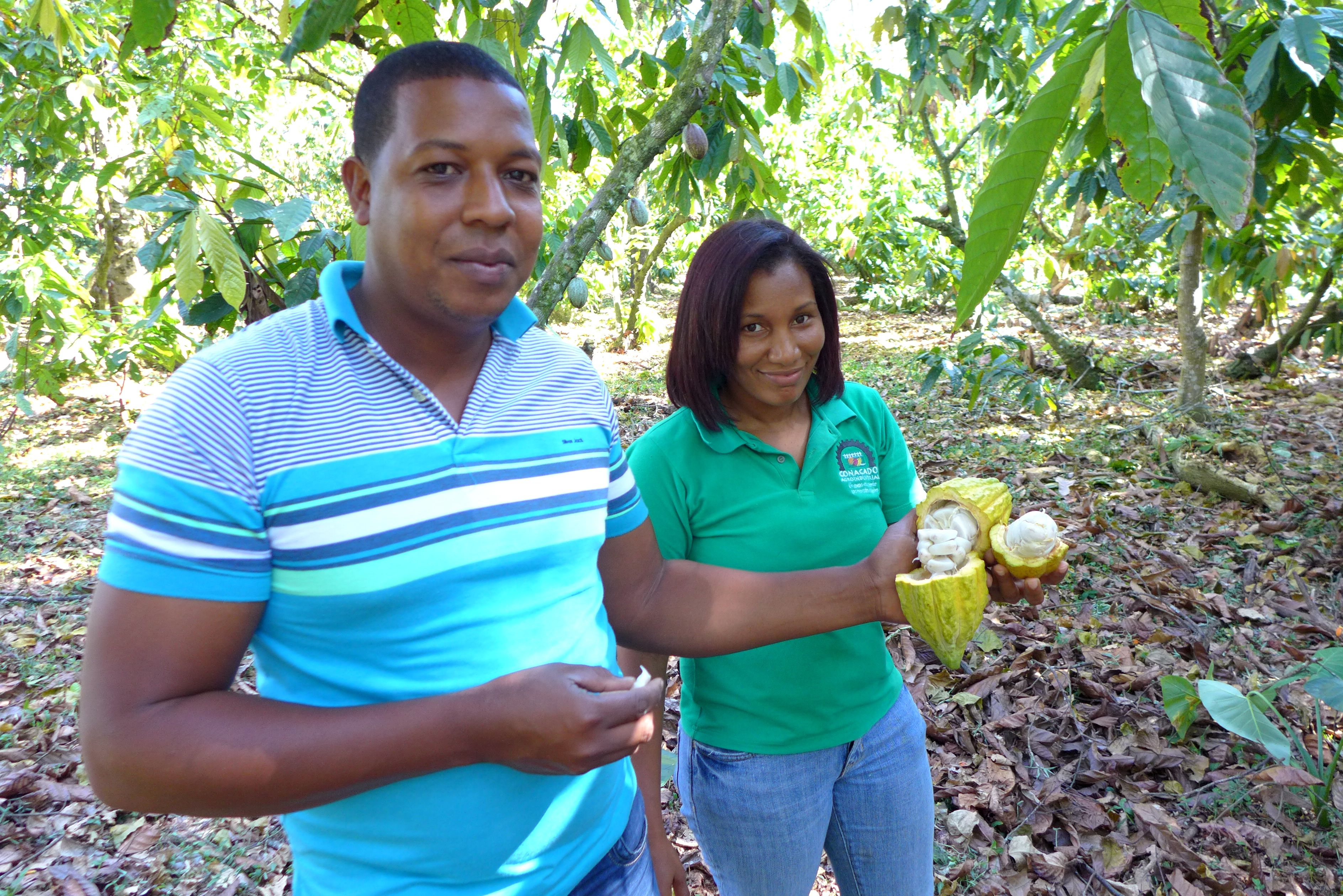 A man and a woman proudly display cacao pods, from which organic chocolate is made.