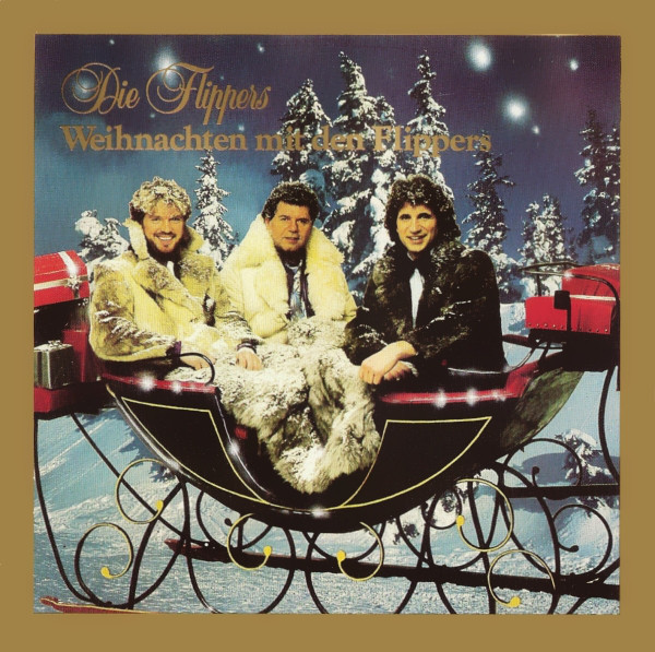 A 1970s album cover shows three men in a sleigh with snow in their hair.