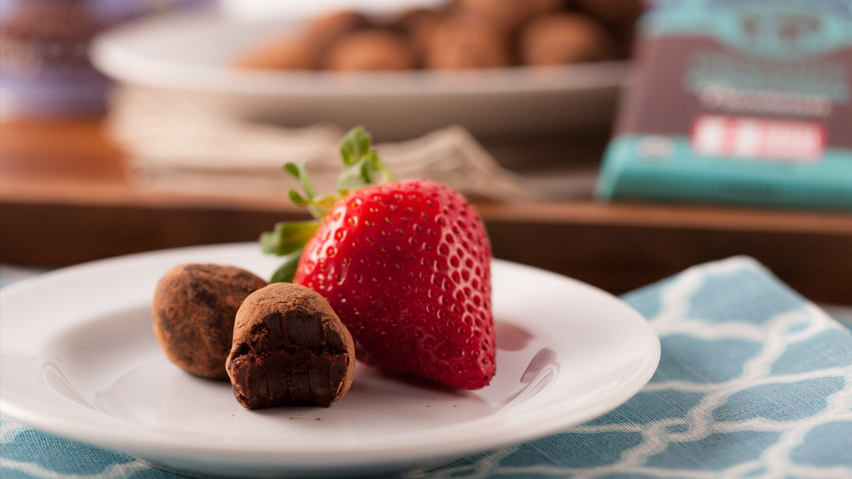 Dark Chocolate Truffles and a Strawberry