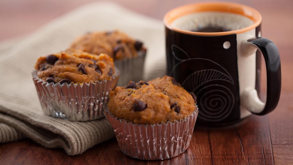 chocolate chip muffins with a mug of coffee