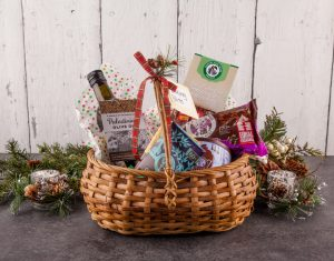 A gift basket full of baking goods from Equal Exchange